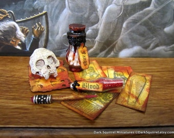 Vlad the Impaler Accoutrements set dollhouse miniature, vampire, Dracula, spooky, skull, Halloween, haunted in 1/12 scale