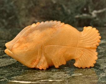 Vintage Jade Fish Figurine Statue