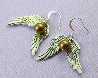 Silver Wing Earrings,Silver Wing and Ball earrings, Choose Your Color Pearl, Graduation Gift,