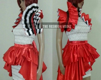 Ringmaster Bustle  Burlesque skirt and shoulder collar bolero Steampunk Cosplay Dance
