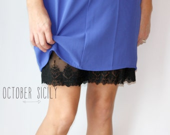 2ND- Clearance PENCIL Black Lace Slip Extender | S-2XL | Dress or Skirt