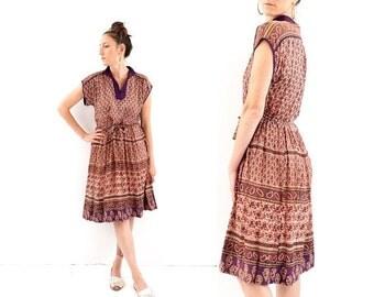 FLASH SALE vintage 70s authentic INDIAN gauze Purple block Print dress M
