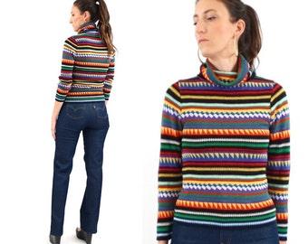 vintage 70s MULTI colored GEO stripes cowl SKI sweater S-M