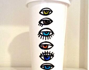 Painted Ceramic Travel Mug 16oz Eyeballs Evil Eye Tumbler Pop Art Optometrist Green brown Blue Porcelain - Made To Order
