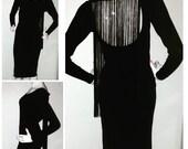 Black Midi dress with fringe/ little black dress /fringe dress
