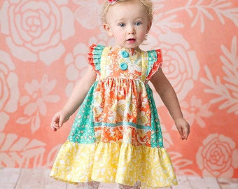 SALE- Girls Spring Dress- Girls Coral Flutter Sleeve dress - by Melon Monkeys 2016 Collection