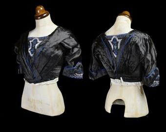 Original Edwardian 1910s Black Beaded Silk Evening Bodice - Small - FREE SHIPPING WORLDWIDE