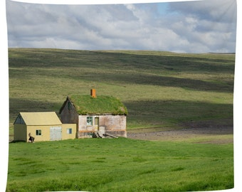 Abandoned Farm House Iceland Tapestry