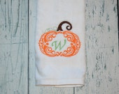 PERSONALIZED Pumpkin Hand Towel Monogrammed Initial Holiday towel