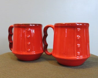Pair of Vintage Burnt Orange Button Coffee Cups