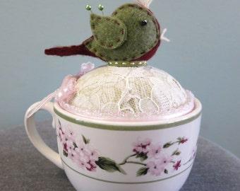 Teacup Pin Cushion, Teacup Pincushion with Bird, Bird PinCushion,Repurposed Teacup - TCPC14