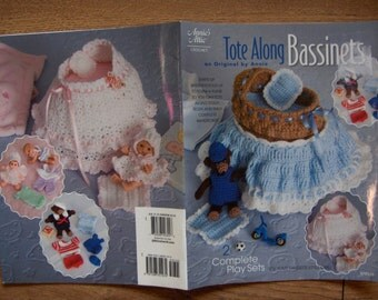 2008 Crochet pattern DOLLY Tote-Along Bassinet and Clothes and TEDDY Tote-Along Bassinet and Clothes toy children boy girl