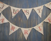 Just Married Bunting. Wedding Bunting. Colours - Pink and White. Fabric - Vintage embroidered tablecloth. 4m long strand.
