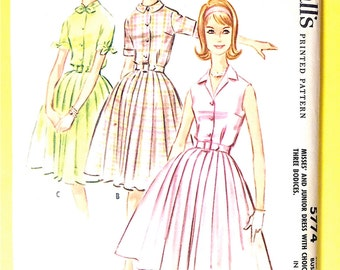 1950s McCall's 5774 Misses' Dress with Three Bodices Vintage Sewing Pattern Bust 33