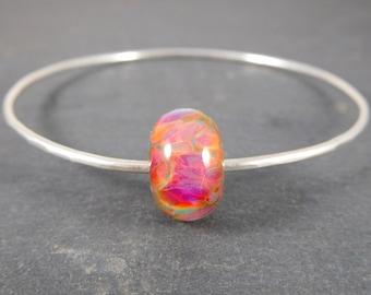 Colorful Glass Bracelet, Bangle Bracelet, Hot Pink Peach Mint Stacking Bracelet, Simple Sterling Silver Bracelet, Hammered Silver Bracelet