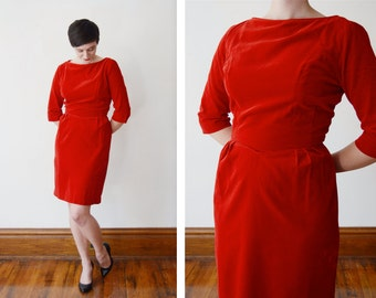 1960s Red Velveteen Dress - S