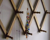 Vintage Wooden Accordian Style Peg Wall Rack