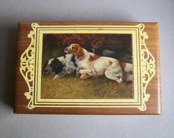 Small Vintage Wooden Box ~ Setters ~ Dogs ~ Small Item Storage