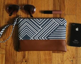 Blue Wristlet, Zipper Clutch, Zipper Pouch, Boho Clutch, Blue iPhone Wallet, Mini iPad Case, iPhone Wristlet, Gifts for Her, Wedding Gifts