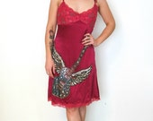 French burgundy silk strap dress with lace and sequined winged guitar applique on the skirt - small medium - S M
