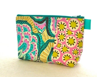 Amy Butler Paisley Fabric Large Cosmetic Bag Zipper Pouch Padded Makeup Bag Cotton Zip Pouch Hapi Oasis Kaleidoscope Turquoise Orchid Pink