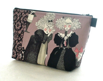 The Ghastlies Fabric Large Cosmetic Bag Zipper Pouch Padded Makeup Bag Cotton Zip Pouch Alexander Henry Mauve Ghastlie Sisters GRM