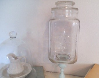 Upcycled Apothecary Pedestal Jar ~ French Country Duck Egg Blue ~ Feur De Lis Jar ~