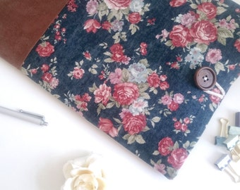 iPad Sleeve, iPad Mini, iPad Pro, Amazon Fire HD, Kindle Paperwhite Case Custom Fit and Padded Tablet Case - Vintage Floral + Suede