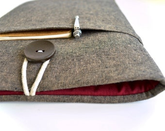 """Laptop Case 11""""-15.6"""" Custom Size Sleeve for New MacBook 12"""", Dell XPS 13, Inspiron 7000, Asus ux305, Lenovo 900 Case Cover - Brown Linen"""