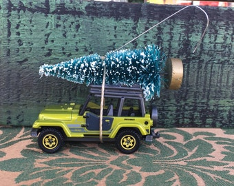 Jeep Carrying Christmas Tree Ornament