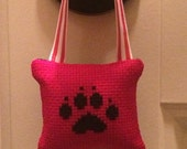 Paw Print Cross Stitched Hanging Pillow