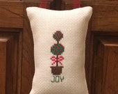 Christmas Topiary Cross Stitched Hanging Pillow