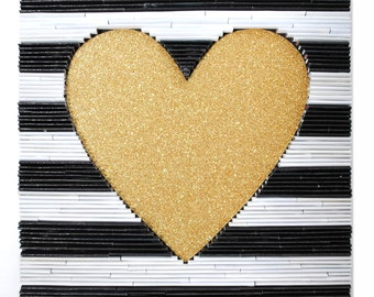 Gold heart with black and white stripes, modern, square wall art- made with recycled magazines, gold, home decor, interior design