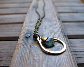 Sundrop - Moss Agate Necklace - Semi Precious Stone and Brass Teardrop Necklace - Artisan Tangleweeds Jewelry