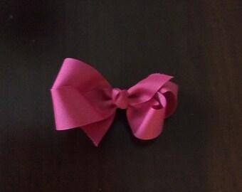 Toddler hot pink grosgrain hairbow