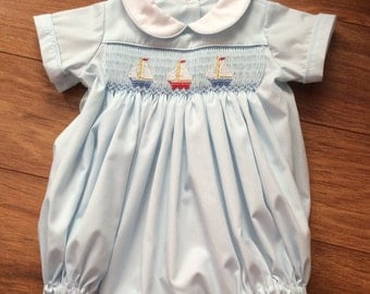 Boys/Toddlers Hand Smocked Sailboat Bubble - Size 24m