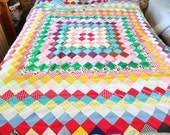 Quilt top, unfinished patchwork, Around the World, 70s polyester quilt top, unfinished quilt, hippie decor .festival bedding.boho quilt top