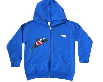 mi cielo x Matthew Langille - Shark & Fish – Royal Blue Kids Zipup Hoodie – Boys or Girls