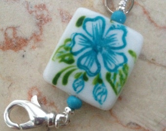 Turquoise Bloom - Stitch Marker Holder/ Pendant - Handmade - Matching Row Counter or Stitch Markers available