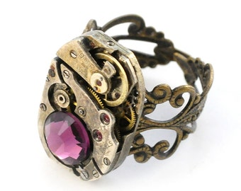Steampunk Amethyst Crystal Vintage Watch Movement Adjustable Ring