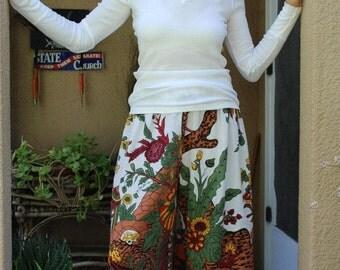 Hippie Pants-Length 41' Hips 52' White Tree of Life design -festival Boho , Beach, travel Pants -