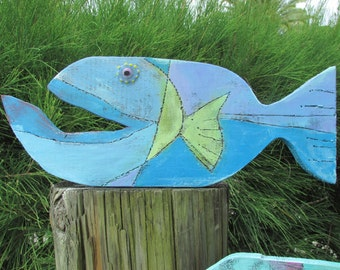 Wooden fish, fish art, wood fish, wooden fish wall art, beach wall art, glass bead, beach painting, nautical decor, fish, tiki, beach art