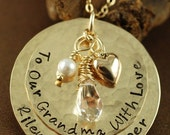 SALE Hand Stamped Jewelry, Custom Mommy Jewelry, Gold Heart, Birthstones and/or Pearl, 14kt Gold Filled, Hand Stamped Necklace