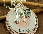 ON SALE Pet Lover Necklace | Hand Stamped Jewelry, Personalized Sterling Silver Necklace, Animal Lover, Dog Paw, Dog Bone