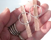 Abstract Copper & Silver Earrings, Hammered Handmade Look
