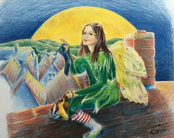 "MISSING SOCKS FAIRY - This is where those socks go!  Print from a colored pencil image by Linda Varos - 14"" x 14"""