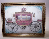 Vintage Frame, Metal frame, Royal Carriage, Cinderella, Parisian, Royalty, Gold, Pink, Home Decor, Home Accent, Gift for Her, Gift for Him,