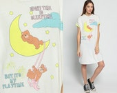 Nightgown Pajama Dress TEDDY BEAR Shirt Dress Moon SLEEPTIME 90s Graphic Retro Short Sleeve Tshirt 1990s Top Kawaii Mini Small Medium Large