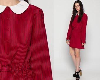 Lolita Dress Peter Pan Collar Mini Puff Sleeve Striped 80s Secretary Red Black High Waist 1980s Vintage Long Sleeve Button Up Medium Large