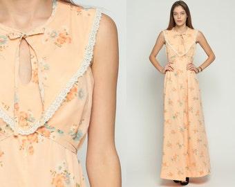 Bohemian Dress 70s Maxi Floral Print Boho PRAIRIE Lace Bib Peach KEYHOLE 1970s Hippie Empire Waist Festival Vintage Sleeveless Medium